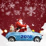Santa Claus på bilen Royaltyfri Foto