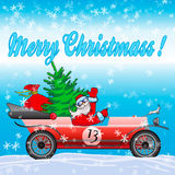 Santa Claus på den röda bilen Arkivfoto
