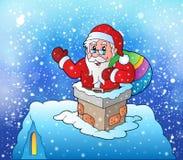 Santa Claus på det snöig taket Royaltyfria Bilder