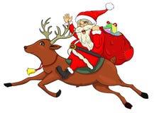 Santa Claus på en hjort royaltyfri illustrationer