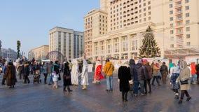 Santa Claus på en Manezhnaya fyrkant, Moskva Arkivbilder