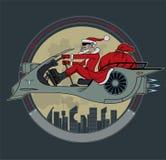 Santa Claus på en utrymmesparkcykel vektor illustrationer