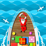 Santa Claus på en yacht royaltyfri illustrationer