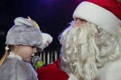 Santa Claus på etapp Arkivfoto