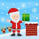 Santa Claus på ett tak Fotografering för Bildbyråer