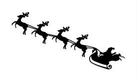 Santa Claus på hans släde som dras av renar stock illustrationer
