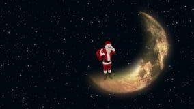 Santa Claus på väntande på renar för måne med att blinka stjärnor, materiellängd i fot räknat