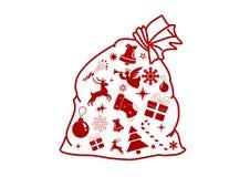 Santa Claus påse med gåvor royaltyfri illustrationer