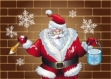Santa claus paints. Snowflakes on a city walls stock illustration