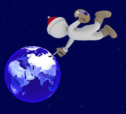 Santa Claus paints the Earth Royalty Free Stock Images