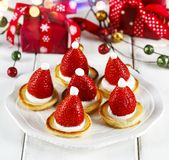 Santa Claus Pancakes With Whipped Cream And Strawberries. Royalty Free Stock Photos