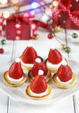 Santa Claus Pancakes With Whipped Cream And Strawberries. Stock Image