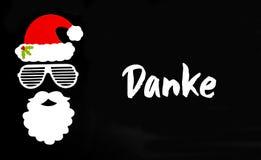 Santa Claus Paper Mask, Black Background, Danke Means Thank You