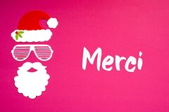 Santa Claus Paper Mask, Pink Background, Merci Means Thank You