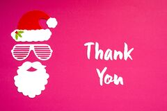 Santa Claus Paper Mask, Pink Background, Text Thank You