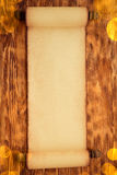 Santa Claus paper scroll on wood Stock Image