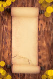 Santa Claus paper scroll on wood Royalty Free Stock Photos