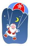 Santa claus and parachute Stock Photos