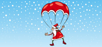 Santa claus on parachute greeting card Royalty Free Stock Images