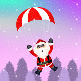 Santa Claus with parachute. Illustration of Santa Claus with parachute Stock Photo
