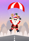 Santa Claus with parachute Stock Photography