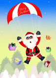 Santa Claus with parachute. Illustration of Santa Claus with parachute Stock Images