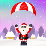 Santa Claus with parachute Royalty Free Stock Images