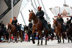 The Santa Claus Parade 2008. The Metro Toronto Mounted Police galloping on horses during the Santa Claus Parade on November 16, 2008.  Toronto, Ontario, Canada Stock Images