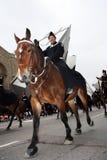 The Santa Claus Parade 2008. A Metro Toronto Mounted Police officer and horse, during the Santa Claus Parade, November 16, 2008.  Toronto, Ontario, Canada Royalty Free Stock Photography