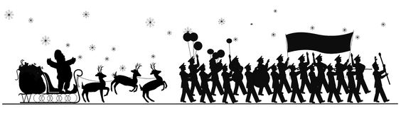 Santa Claus parade. Santa parade in silhouette with sled and reindeer and large marching band Stock Image