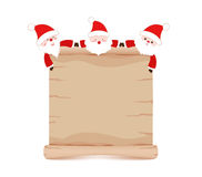 Santa claus and parchment sign funny Stock Image