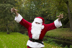 Santa claus in the park Royalty Free Stock Photos