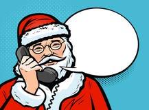 Santa Claus parlant au téléphone Concept de Noël Style comique d'art de bruit rétro Illustration de vecteur illustration libre de droits