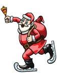Santa Claus patinadora con una campana ilustración del vector