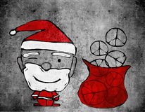 Santa claus and peace symbols Stock Photography