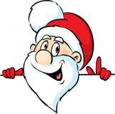 Santa Claus peeking around a white background Stock Photography