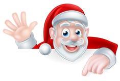 Santa Claus Peeking Over Sign Stock Photos