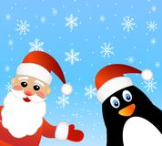 Santa claus and penguin Royalty Free Stock Images