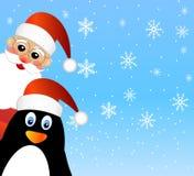 Santa claus and penguin Royalty Free Stock Photo