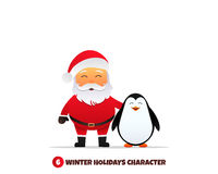Santa Claus with penguin . Merry Christmas and Happy New Year. Santa Claus and penguin cartoon characters. Holiday vector illustration Royalty Free Stock Images