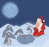 Santa Claus and penguins cartoon Royalty Free Stock Image