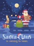 Santa Claus a perdu son traîneau et renne et fait de l'auto-stop sur la route pour fournir des présents aux enfants  illustration libre de droits