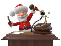 Santa Claus with phone and the handle Royalty Free Stock Images