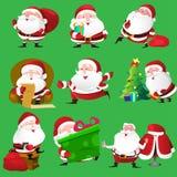 Santa Claus-pictogrammen Royalty-vrije Stock Afbeeldingen