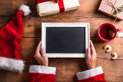 Santa Claus with picture frame Royalty Free Stock Photo