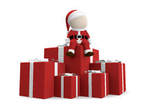 Santa claus with pile of gifts. Stock Photos