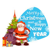 Santa Claus with pine and gifts. Merry Christmas. Vector. Poster Stock Image