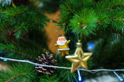 Santa Claus Pine Star Lights -Christmas tree decoration Stock Photography