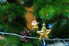 Santa Claus Pine Star Lights - decorazione dell'albero di Natale Fotografia Stock