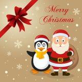 Santa Claus & pingvinjulkort Royaltyfria Bilder